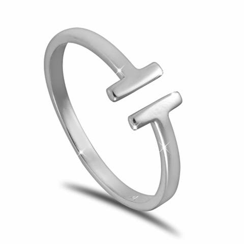 Sterling Silver Double-T Design Ring