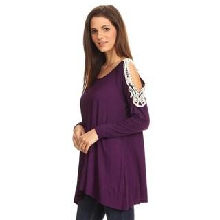 Women's Purple Crochet Lace-trimmed Shoulder Tunic