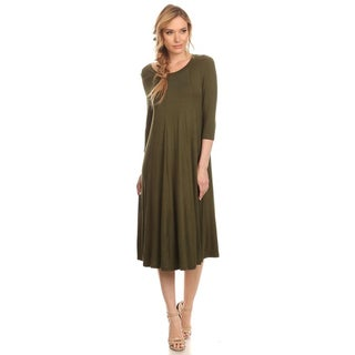 Women's Olive Color Mid-length Dress