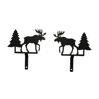 Black Wrought Iron Moose and Pine Curtain Swags