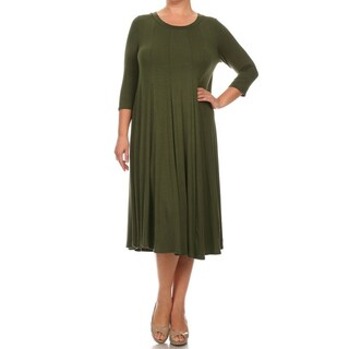 Women's Olive Rayon and Spandex Plus-size Mid-length Dress