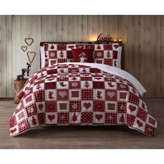 VCNY Holiday Patchwork Micro Mink 3-piece Comforter Set