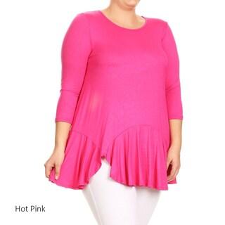 Women's Rayon and Spandex Plus-size Ruffled-hem Tunic