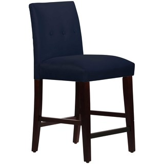 Skyline Furniture Custom Counter Stool with Buttons in Micro-suede