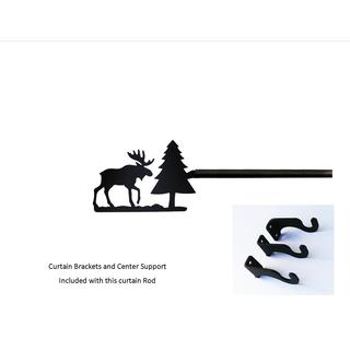 Black Wrought Iron Large Moose and Pine Curtain Rod