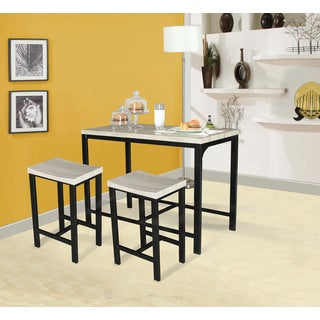 Acme Furniture Mira 3-Piece Pack Counter Height Set, Birch & Black