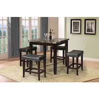 Acme Furniture Ainsley 5-Piece Pack Counter Height Set, Black Faux Marble & Espresso