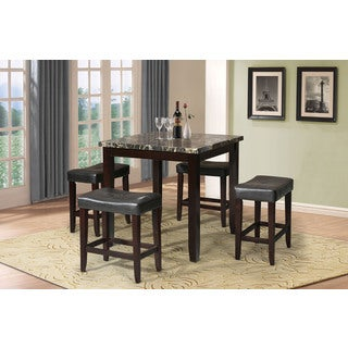 Acme Furniture Ainsley 5 Piece Pack Counter Height Set, Black Faux Marble U0026  Espresso