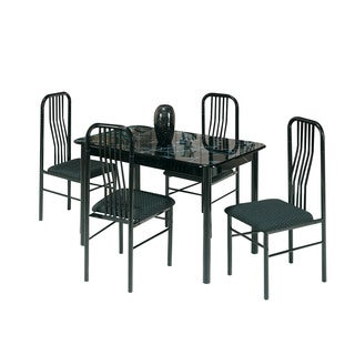 Acme Furniture Hudson 5-Piece Pack Dining Set, Faux Marble and Black