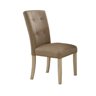 Acme Furniture Faymoor Dining Chair (Set-2), Cream PU and Antique White