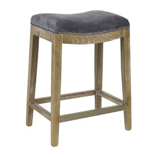 French Nailhead Valvet Counter Stool with Kickplate