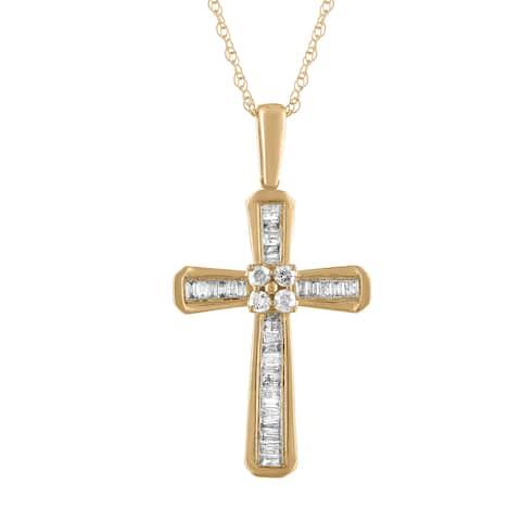 10k Yellow Gold 1/5ct TDW Diamond Cross Pendant