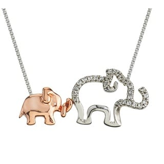 Two-tone Sterling Silver 1/10ct TDW Diamond Elephant Mom and Child Necklace