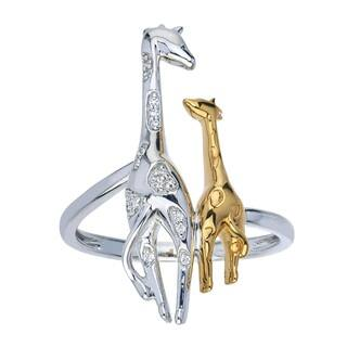 10k Yellow Gold over Silver Diamond Accent Giraffe Ring - White|https://ak1.ostkcdn.com/images/products/14476117/P21036227.jpg?impolicy=medium