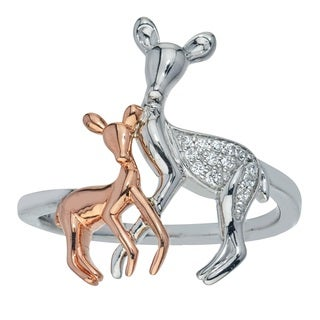 10k Rose Gold and Sterling Silver Diamond Accent Deer Ring (H-I, I1-I2)