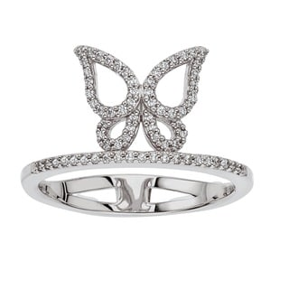 Sterling Silver 1/5ct TDW Diamond Butterfly Ring