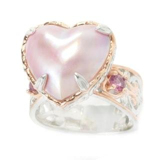 Michael Valitutti Palladium Silver Mabe Cultured Pearl & Rhodolite Heart Ring