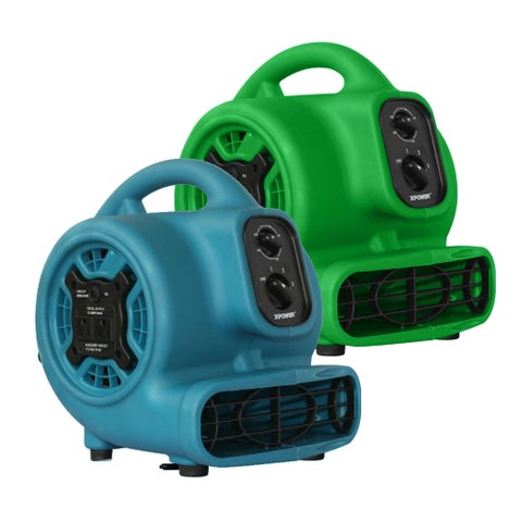 XPOWER P-230AT 1/8 HP Mini Air Mover, Dryer, Fan, Blower with Build-in Power Outlets and Timer