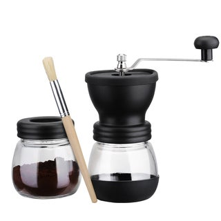 Manual Ceramic Coffee Grinder Mill with Extra Jar and Wooden Brush for Making Espresso