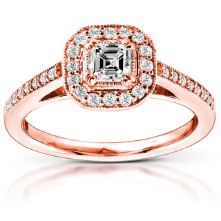 Annello by Kobelli 14k Rose Gold 1/2ct TDW Asscher Diamond Engagement Ring