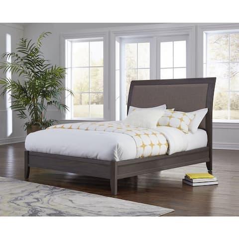City II Upholstered Sleigh Bed in Basalt Gray
