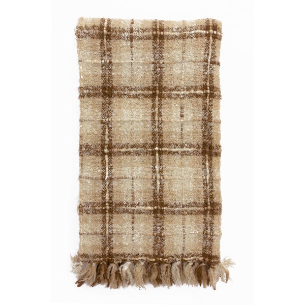 Plaid Acrylic Knitted Mohair Throw