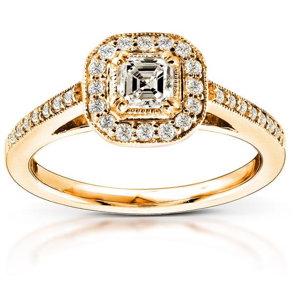 Annello by Kobelli 14k Yellow Gold 1/2ct TDW Asscher Diamond Halo Engagement Ring