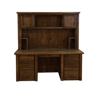 Barn Wood Style Timber Peg Executive Desk with Hutch- Amish made