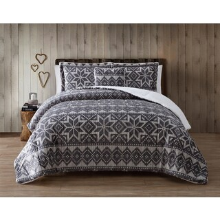 VCNY Nordic Grey Micro Mink 3-piece Comforter Set