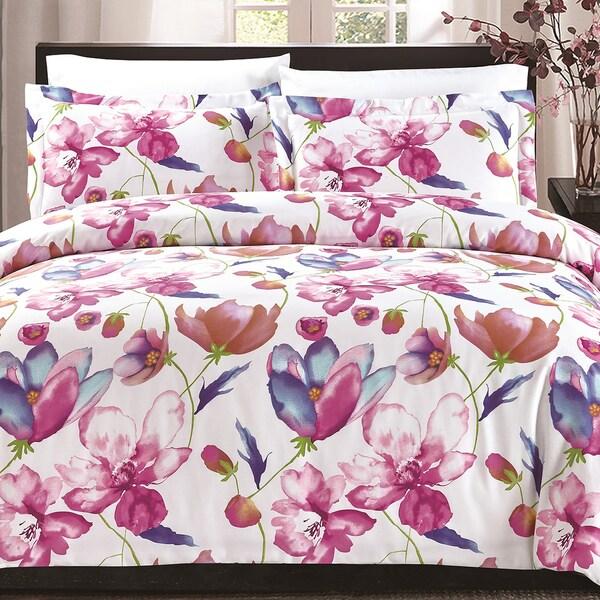 Florentane Pink Floral Cotton Comforter Set