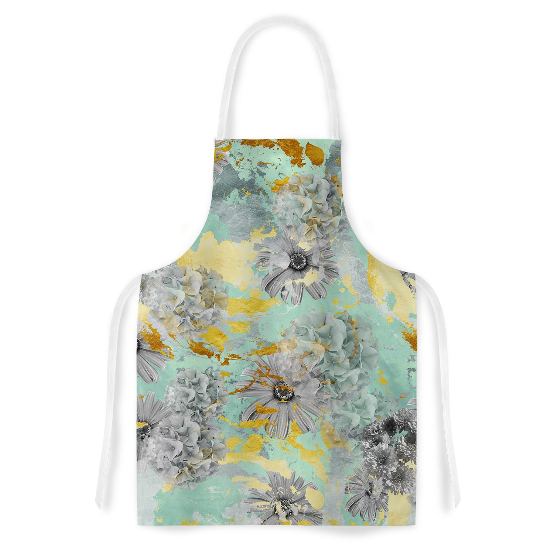 Kess InHouse Zara Martina Mansen Mint Gold Garden Green G...