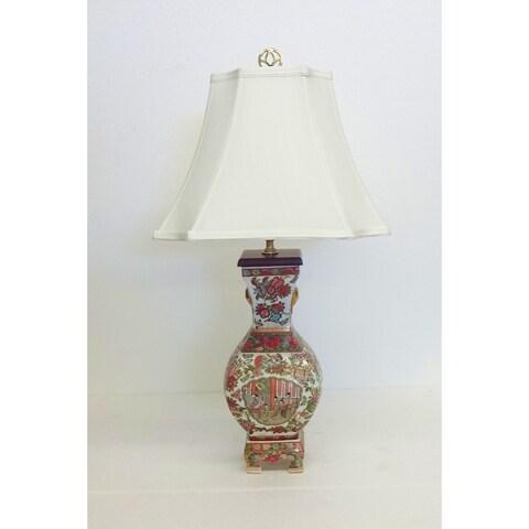 Rose Famille Ladies Square Vase Porcelain Lamp