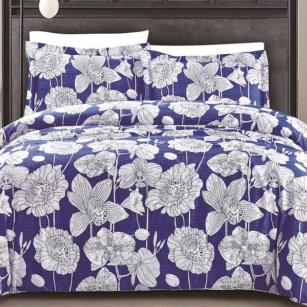 Exotica Deep Blue 3 Piece Cotton Quilt Set