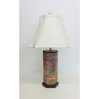 Rose Famille Hexagon Porcelain Vase Table Lamp