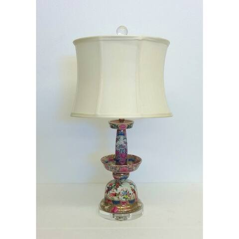 Rose Medallion Bell-like Porcelain Table Lamp