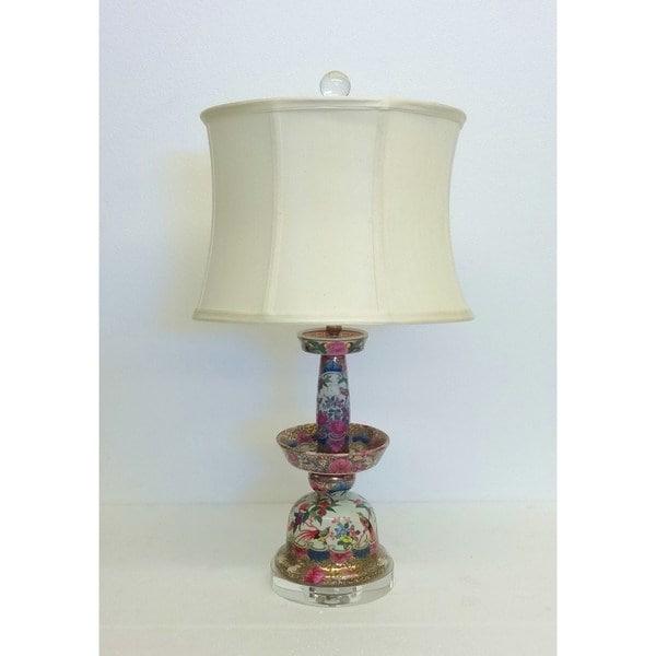 Rose Medallion Bell-like Porcelain Table Lamp