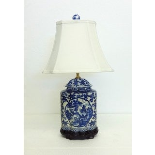 Blue and White Scene Cover Jar Table Lamp