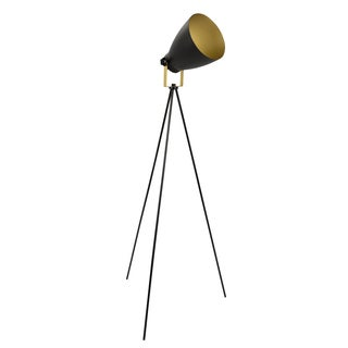 Grammy Industrial Modern Tripod Floor Lamp in Black and Gold