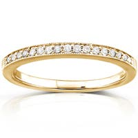 Annello by Kobelli 14k Yellow Gold 1/10ct TDW Pave Diamond Womens Wedding Band