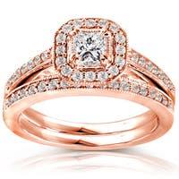 Annello by Kobelli 14k Rose Gold 5/8ct TDW Princess Diamond Halo Bridal Set