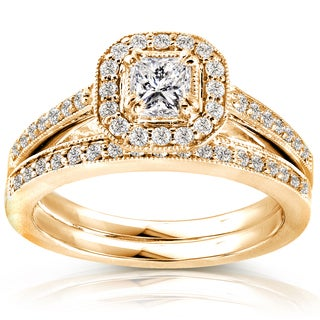 Annello by Kobelli 14k Yellow Gold 5/8ct TDW Princess Diamond Halo Bridal Set