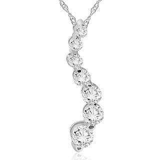 5 to 1 carats diamond necklaces for less overstock 14k white gold 12 ct tdw diamond journey pendant aloadofball Gallery