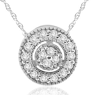 10K White Gold 1/4 ct TDW Diamond Vintage Circle Pendant