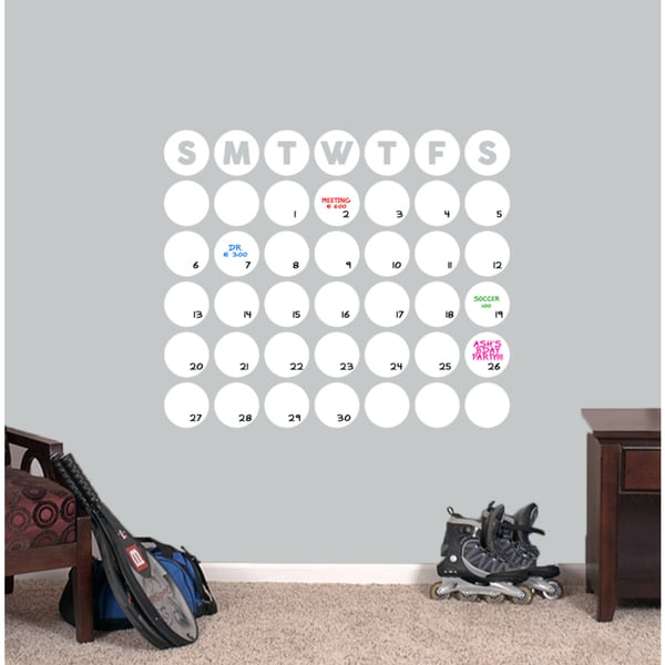 "Dry Erase Circle Calendar Wall Decal - 30"" wide x 25.5"" tall"