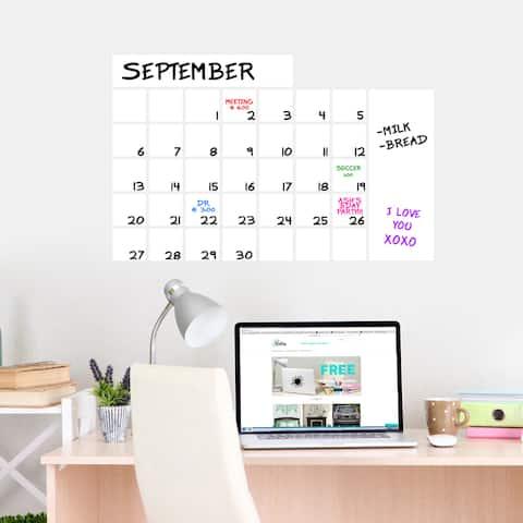 "Dry Erase Wide Calendar Wall Decal - 30"" wide x 20"" tall"