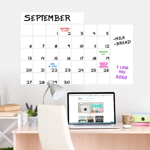 "Dry Erase Wide Calendar Wall Decal (36"" x 23"")"