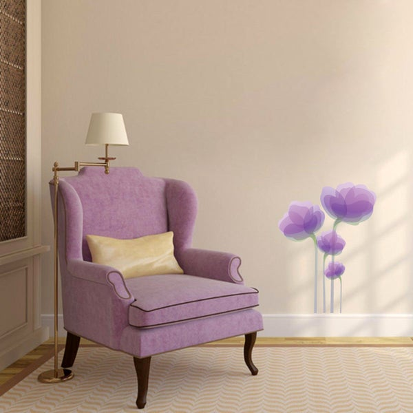 Purple Tulip Flowers Kitchen Vinyl Wall Stickers Home: Shop Purple Flowers Printed Wall Decal