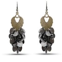 Liliana Bella Oxidized Goldplated Black Chandelier Earrings