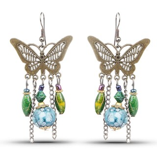 Liliana Bella Oxidised Goldplated Butterfly Chandelier Earrings with Green and Blue Stone