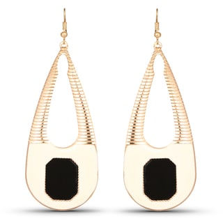 Liliana Bella Goldtone Black Enamel Teardrop Dangle Earrings